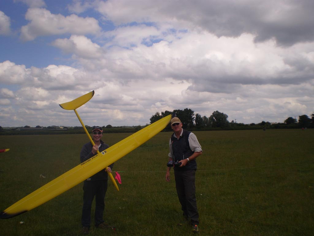 "UK Team Member Ian Duff with Neil Jones (a UK Team Helper) holding Ian's model – an ""Aspire""."